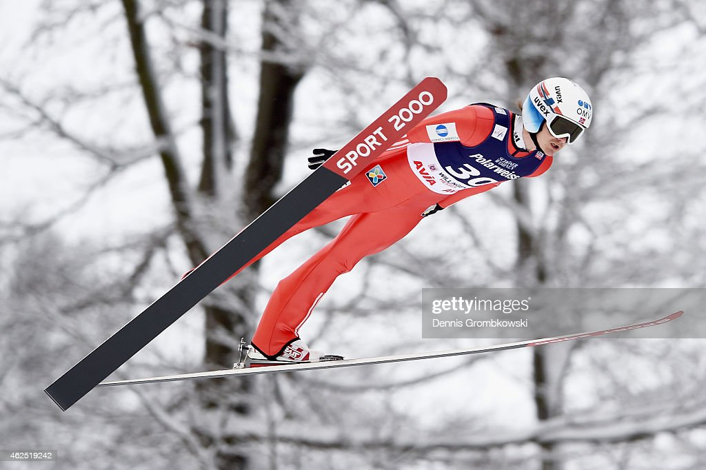 Tom Hilde of Norway soars through the air during his first training jump on Day One of the FIS Ski Jumping World Cup on January 30 2015 in Willingen...