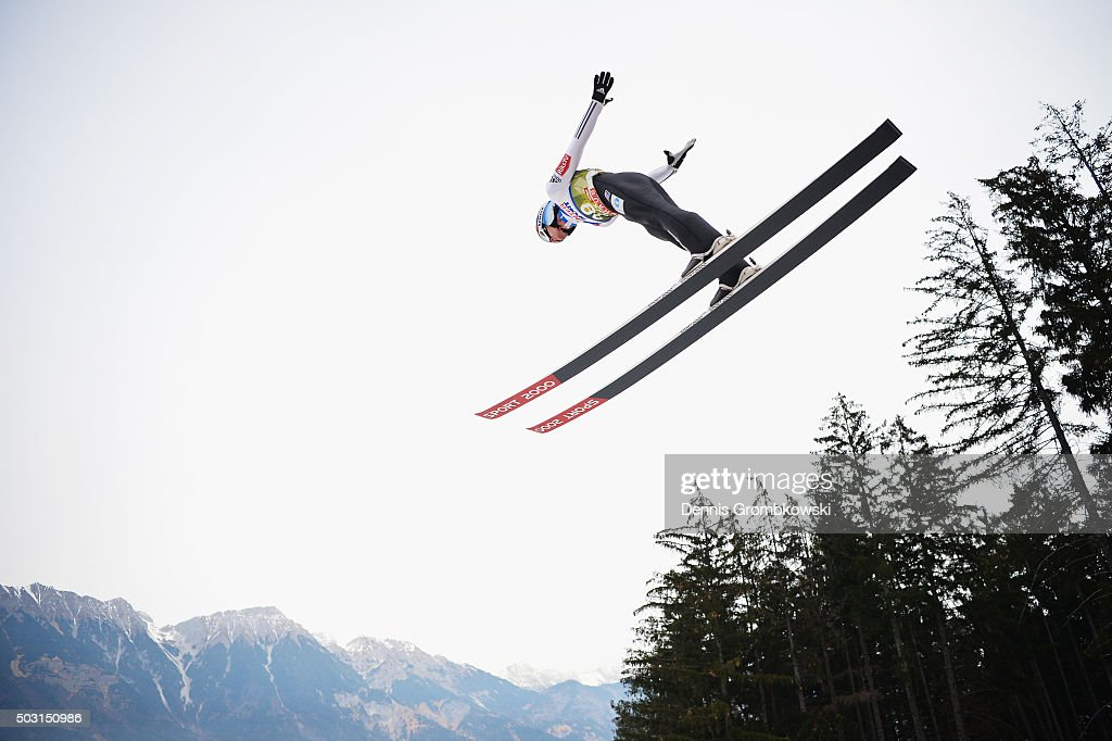 Tom Hilde of Norway soars through the air during his training jump on day 1 of the 64th Four Hills Tournament ski jumping event on January 2 2016 in...