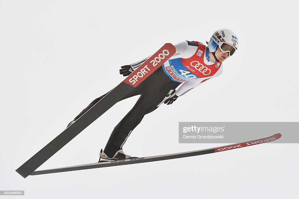 Tom Hilde of Norway soars through the air during his trial jump on Day 1 of the Bischofshofen 64th Four Hills Tournament ski jumping event on January...