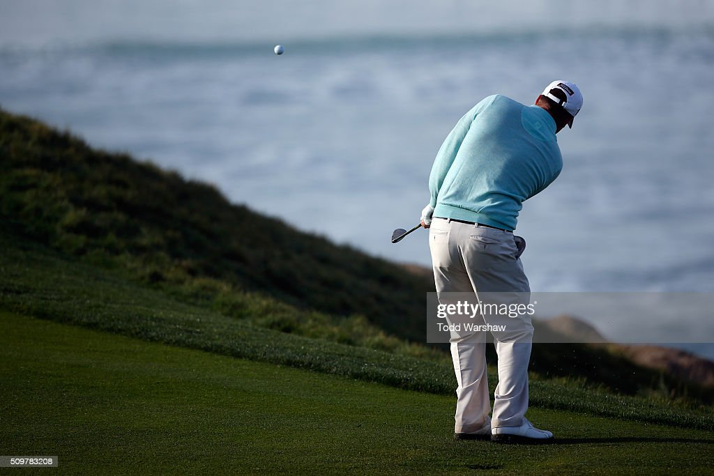 Tom Hoge plays a shot on the 10th hole during the second round of the AT&T Pebble Beach National Pro-Am at the Pebble Beach Golf Links on February 12, 2016 in Pebble Beach, California.