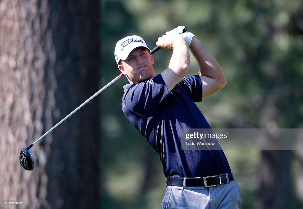 Tom Hoge plays his shot from the eighth tee during the second round of the Barracuda Championship at the Montreux Golf and Country Club on July 1, 2016 in Reno, Nevada.
