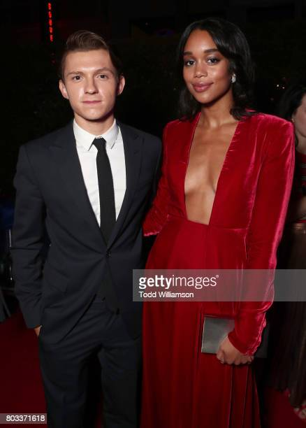 Tom Holland and Laura Harrier attend the after party for the premiere of Columbia Pictures' 'SpiderMan Homecoming' on June 28 2017 in Hollywood...