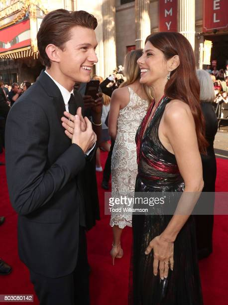 Tom Holland and Marisa Tomei attend the premiere of Columbia Pictures' 'SpiderMan Homecoming' at TCL Chinese Theatre on June 28 2017 in Hollywood...