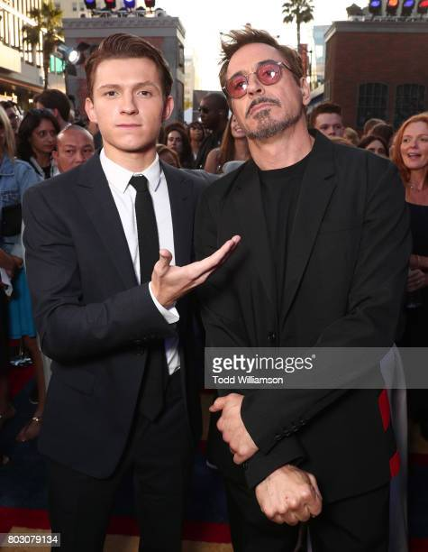 Tom Holland and Robert Downey Jr attend the premiere of Columbia Pictures' 'SpiderMan Homecoming' at TCL Chinese Theatre on June 28 2017 in Hollywood...