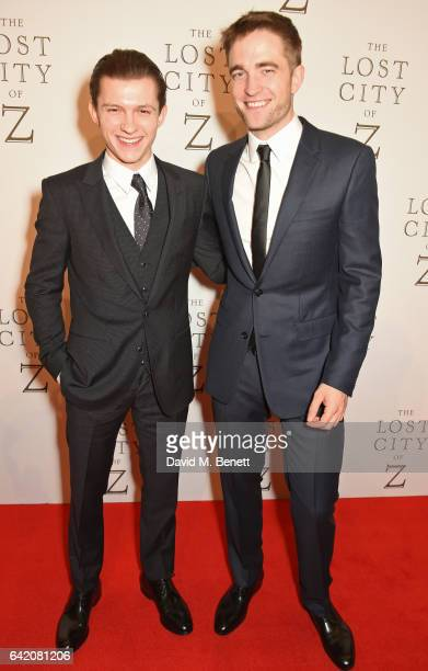Tom Holland and Robert Pattinson arrive at The Lost City of Z UK Premiere at The British Museum on February 16 2017 in London United Kingdom