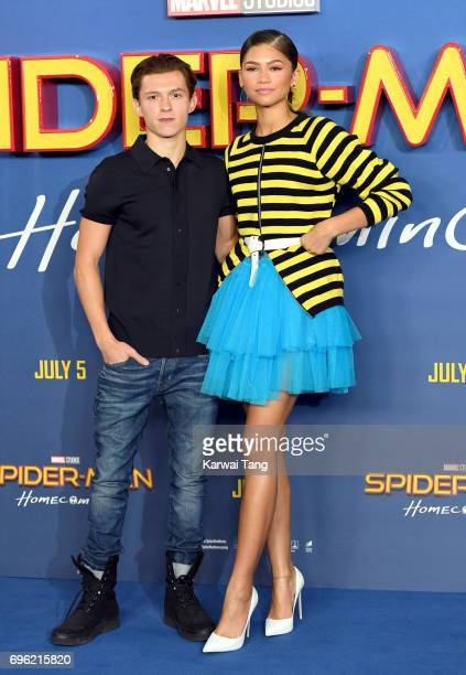Tom Holland and Zendaya attend the 'SpiderMan Homecoming' photocall at The Ham Yard Hotel on June 15 2017 in London England