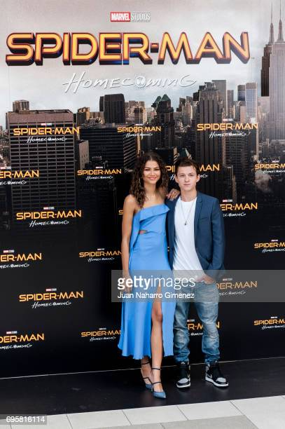 Tom Holland and Zendeya attend 'SpiderMan Homecoming' photocall at Villa Magna Hotel on June 14 2017 in Madrid Spain