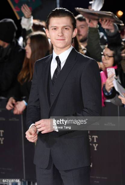 Tom Holland arrives for the UK premiere of 'The Lost City of Z' at the British Museum on February 16 2017 in London United Kingdom