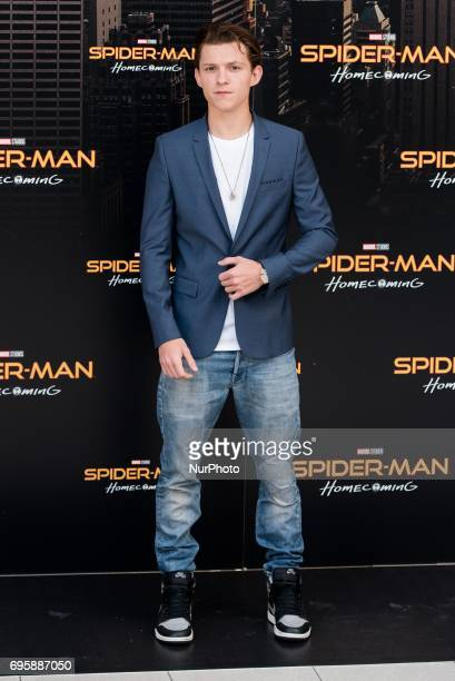 Tom Holland attends the 'Spiderman Homecoming' movie photocall at Villamagna Hotel in Madrid on Jun 14 2017