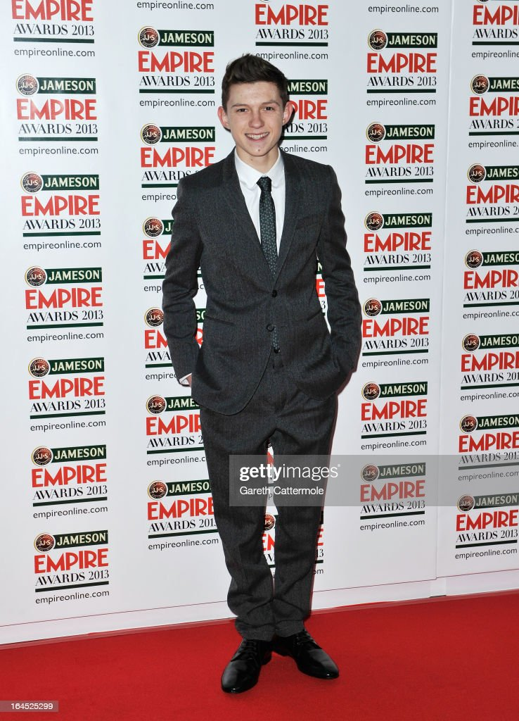 Tom Holland is pictured arriving at the Jameson Empire Awards at Grosvenor House on March 24, 2013 in London, England.