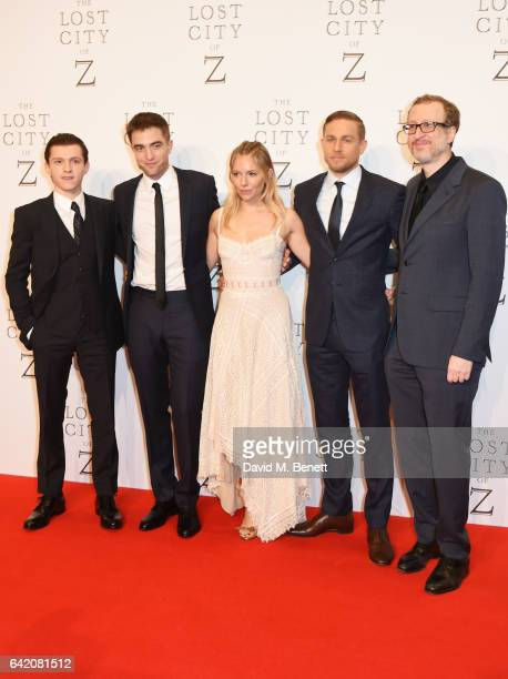 Tom Holland Robert Pattinson Sienna Miller Charlie Hunnam and director James Gray arrive at The Lost City of Z UK Premiere at The British Museum on...