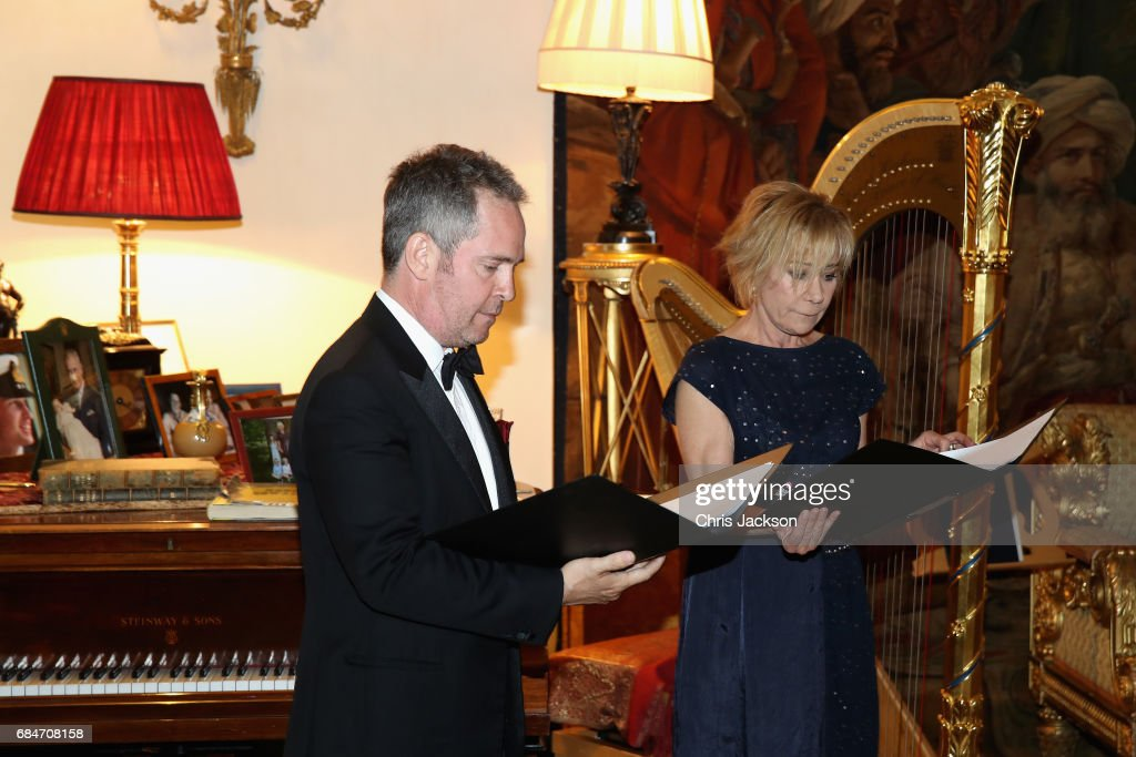 Tom Hollander and Zoë Wanamaker perform at a dinner and evening of readings in honour of the Library's President, Sir Tom Stoppard at Clarence House on May 18, 2017 in London, England.