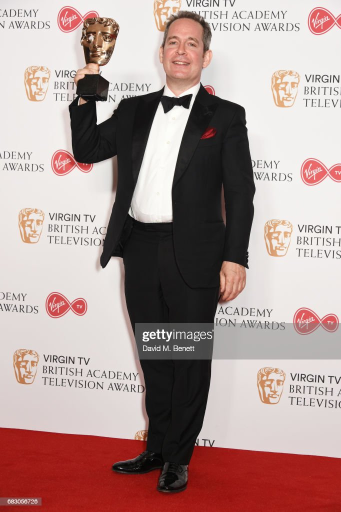 Tom Hollander, winner of the Supporting Actor award for 'The Night Manager', poses in the Winner's room at the Virgin TV BAFTA Television Awards at The Royal Festival Hall on May 14, 2017 in London, England.