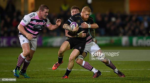 Tom Homer makes a break through the Blues defence during the European Rugby Challenge Cup match between Bath Rugby and Cardiff Blues at The...