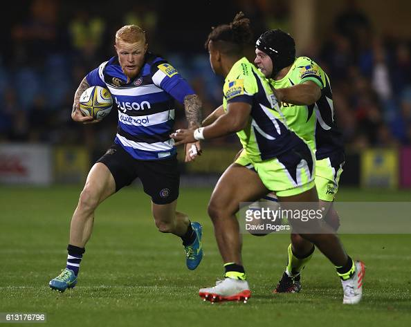Tom Homer of Bath breaks with the ball during the Aviva Premiership match between Bath Rugby and Sale Sharks at the Recreation Ground on October 7...