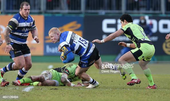 Tom Homer of Bath runs with the ball during the Aviva Premiership match between Bath and Northampton Saints at the Recreation Ground on February 21...