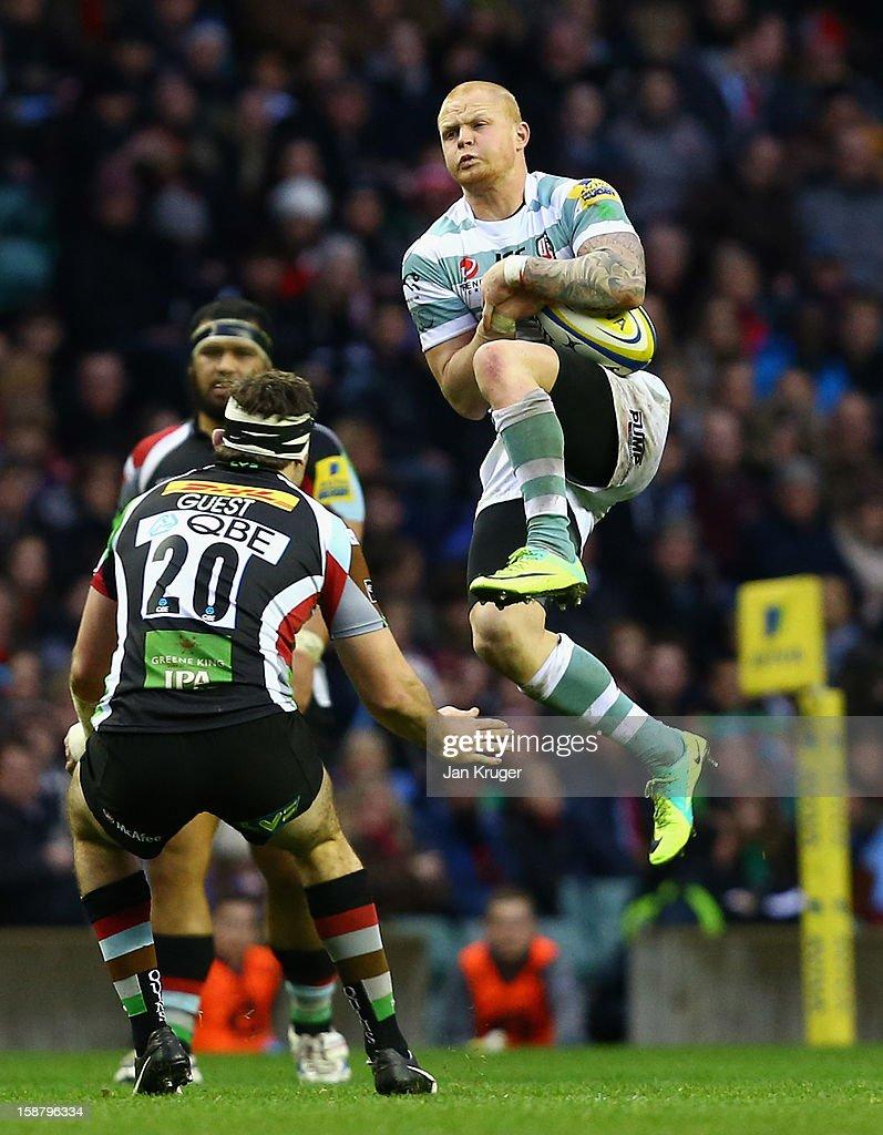 Tom Homer of London Irish claims a high ball during the Aviva Premiership match between Harlequins and London Irish at Twickenham Stadium on December...