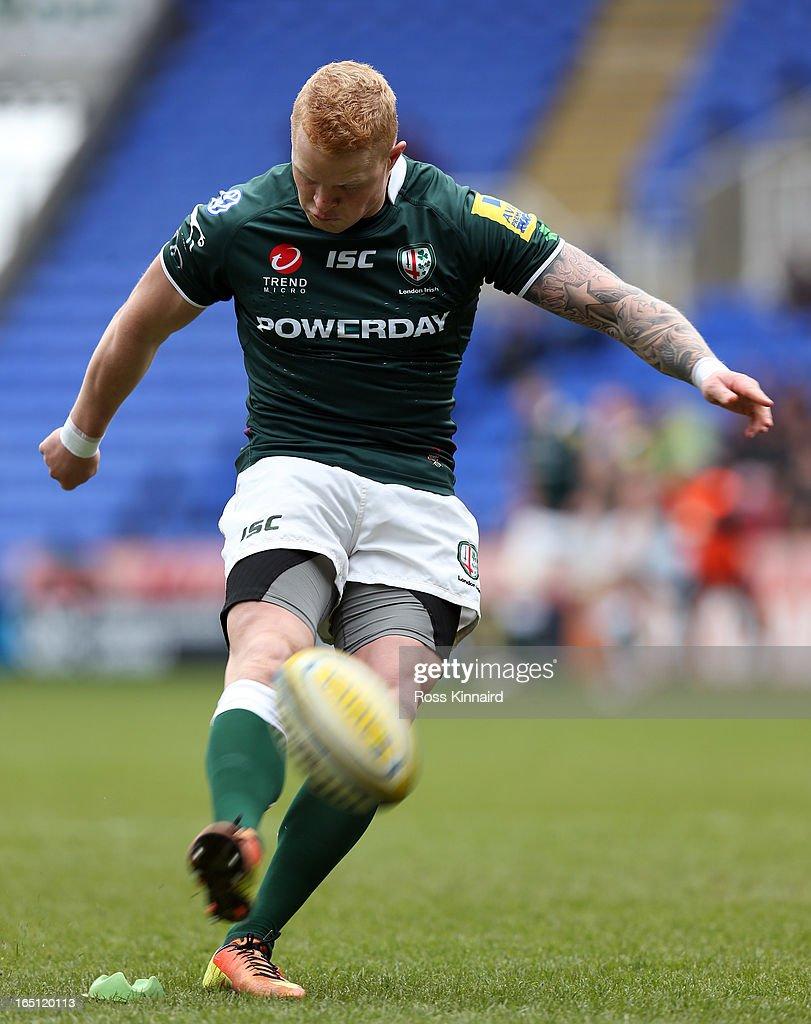 Tom Homer of London Irish kicks a conversion during the Aviva Premiership match between London Irish and Sales Sharks at the Madejski Stadium on...