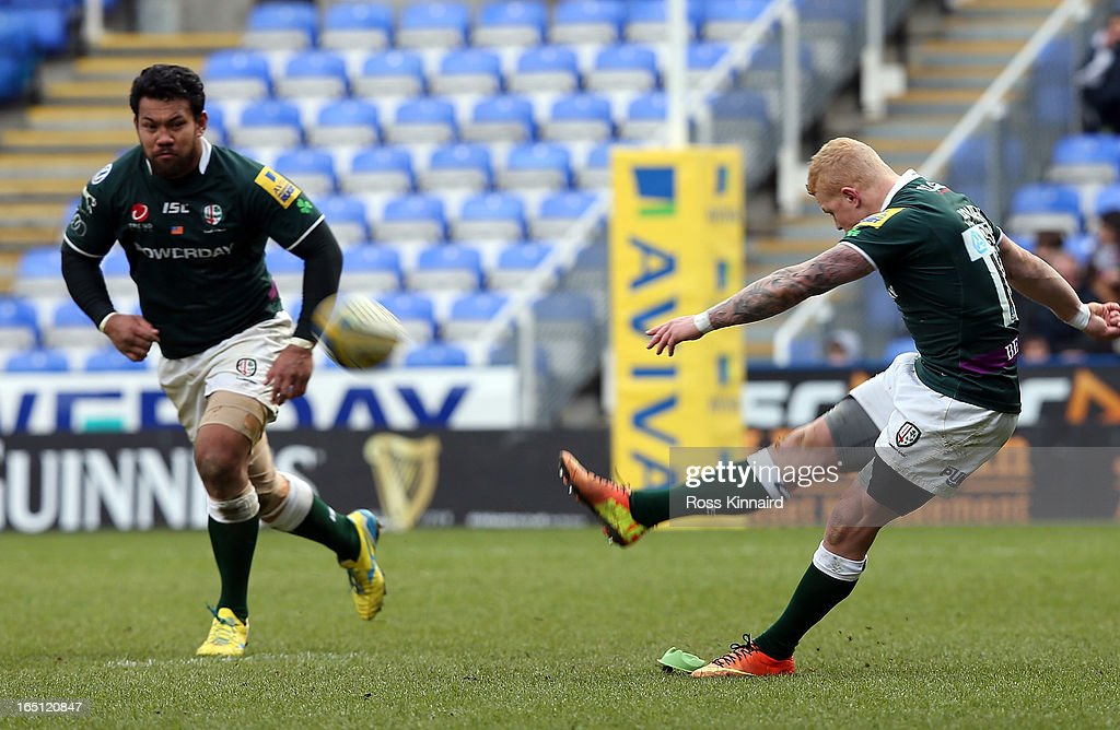 <a gi-track='captionPersonalityLinkClicked' href=/galleries/search?phrase=Tom+Homer&family=editorial&specificpeople=4948122 ng-click='$event.stopPropagation()'>Tom Homer</a> of London Irish kicks a conversion during the Aviva Premiership match between London Irish and Sales Sharks at the Madejski Stadium on March 31, 2013 in Reading, England.