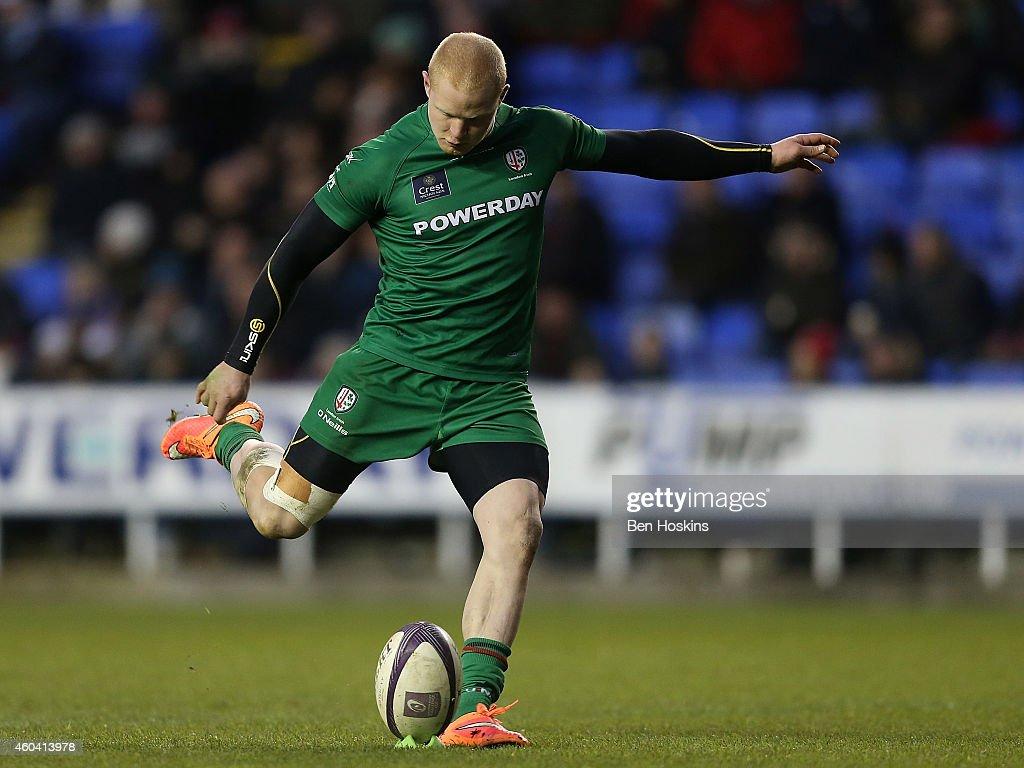 Tom Homer of London Irish kicks a conversion during the European Rugby Challenge Cup match between London Irish and Cardiff Blues at Madejski Stadium...