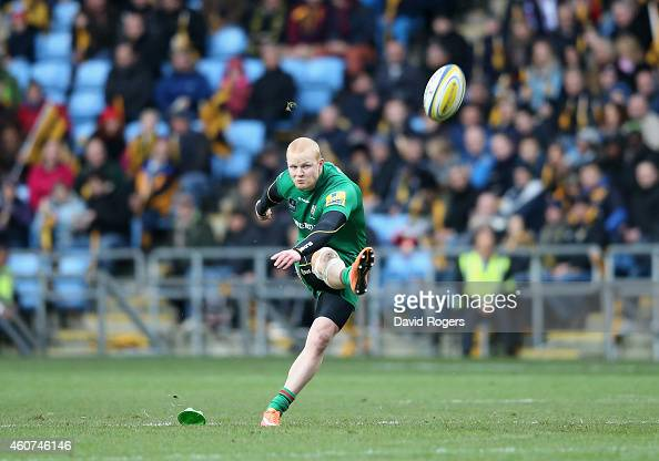 Tom Homer of London Irish kicks a long range penalty during the Aviva Premiership match between Wasps and London Irish at the Ricoh Arena on December...