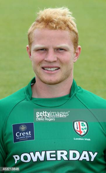 Tom Homer of London Irish poses for a portrait at the photocall held on August 5 2014 in Sunbury England