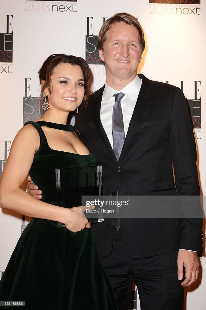 Tom Hooper after presenting samantha Barks with the Breakthrough Performance Winner poses in the press room at The Elle Style Awards 2013 at The Savoy Hotel on February 11, 2013 in London, England.