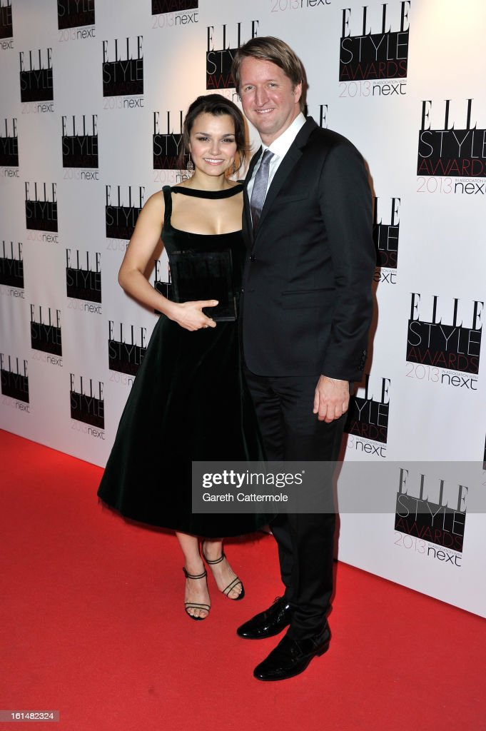 Tom Hooper and Breakthrough Performance winner Samantha Barks poses in the press room during the Elle Style Awards at The Savoy Hotel on February 11, 2013 in London, England.