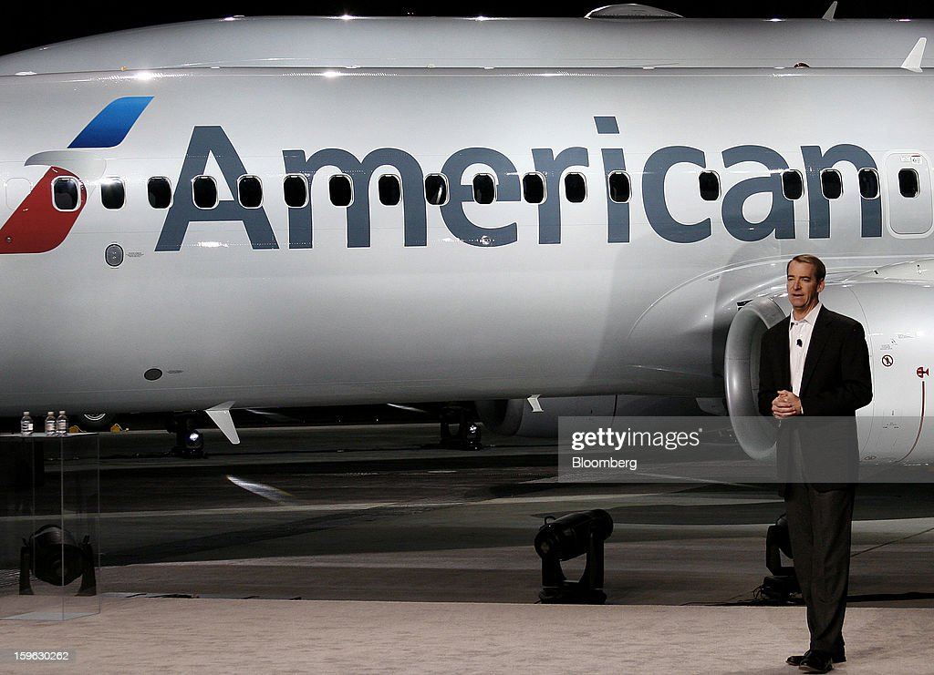 Tom Horton, president and chief executive officer of AMR Corp.'s American Airlines, speaks during an event at Dallas-Fort Worth International Airport in Fort Worth, Texas, U.S., on Thursday, Jan. 17, 2013. American Airlines unveiled the first change in its aircraft livery in more than 40 years as it nears a decision on merging with US Airways Group Inc. or trying to leave bankruptcy on its own. Photographer: Mike Fuentes/Bloomberg via Getty Images