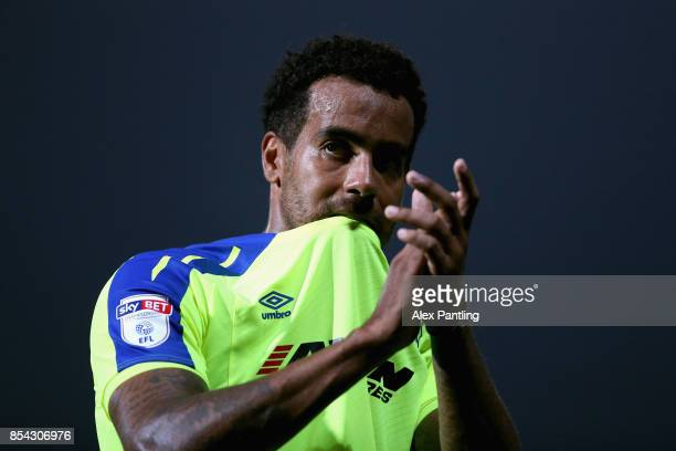 Tom Huddlestone of Derby County applauds the Derby County fans following the Sky Bet Championship match between Brentford and Derby County at Griffin...