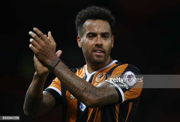 Tom Huddlestone of Hull City celebrates after the Premier League match between Manchester United and Hull City at Old Trafford on February 1 2017 in...