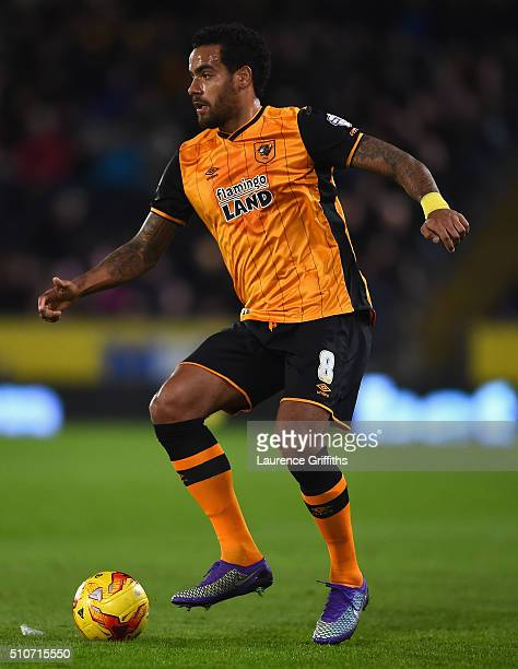 Tom Huddlestone of Hull City in action during the Sky Bet Championship match between Hull City and Brighton and Hove Albion at KC Stadium on February...