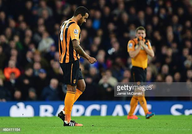 Tom Huddlestone of Hull City looks dejected as he is sent off during the Barclays Premier League match between Chelsea and Hull City at Stamford...