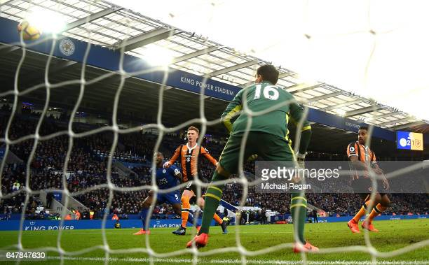 Tom Huddlestone of Hull City scores a goal goal for Leicester City third goal during the Premier League match between Leicester City and Hull City at...