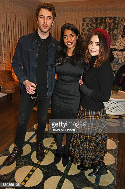 Tom Hughes Amara Karan and Jenna Coleman attend a VIP screening of 'Sing Street' hosted by Harvey Weinstein and Dominic West at The Soho Hotel on...