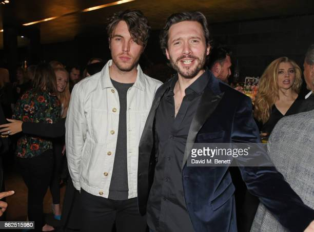 Tom Hughes and cast member David Oakes attend the press night after party for 'Venus In Fur' at Mint Leaf on October 17 2017 in London England