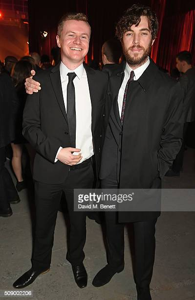Tom Hughes and guest attend a champagne reception at the London Evening Standard British Film Awards at Television Centre on February 7 2016 in...