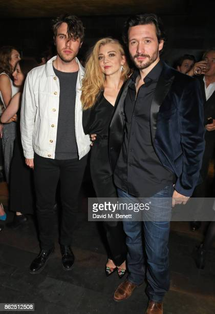 Tom Hughes poses with cast members Natalie Dormer and David Oakes at the press night after party for 'Venus In Fur' at Mint Leaf on October 17 2017...