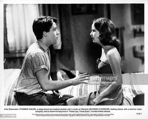 Tom Hulce tries to charm his way with Glynnis O'Connor in a scene from the United Artist movie 'Those Lips Those Eyes' circa 1980