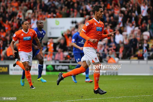 Tom Ince of Blackpool celebrates scoreing his penalty during the Sky Bet Championship match between Blackpool and Leicester City at Bloomfield Road...