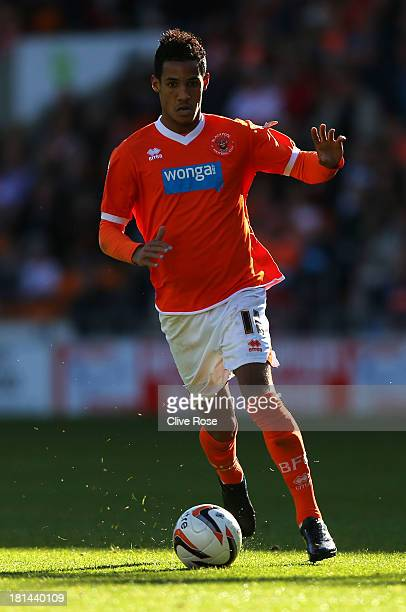 Tom Ince of Blackpool in action during the Sky Bet Championship match between Blackpool and Leicester City at Bloomfield Road on September 21 2013 in...
