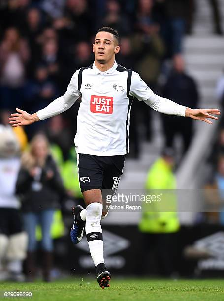 Tom Ince of Derby County celebrates scoring his side's second goal during the Sky Bet Championship match between Derby County and Nottingham Forest...