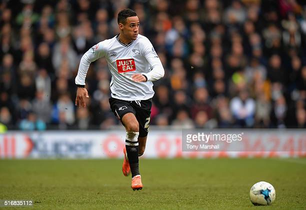 Tom Ince of Derby County during the Sky Bet Championship match between Derby County and Nottingham Forest at the iPro Stadium on March 19 2016 in...