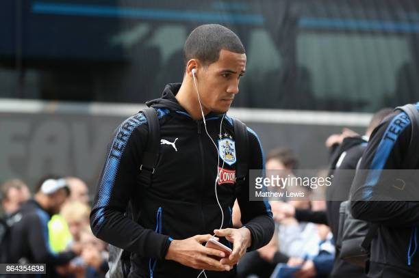 Tom Ince of Huddersfield Town arrives prior to the Premier League match between Huddersfield Town and Manchester United at John Smith's Stadium on...