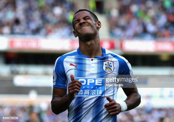 Tom Ince of Huddersfield Town reacts during the Premier League match between Huddersfield Town and Southampton at John Smith's Stadium on August 26...