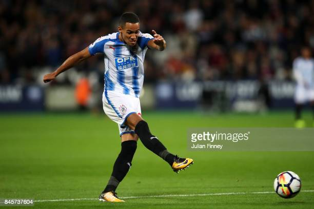 Tom Ince of Huddersfield Town shoots during the Premier League match between West Ham United and Huddersfield Town at London Stadium on September 11...