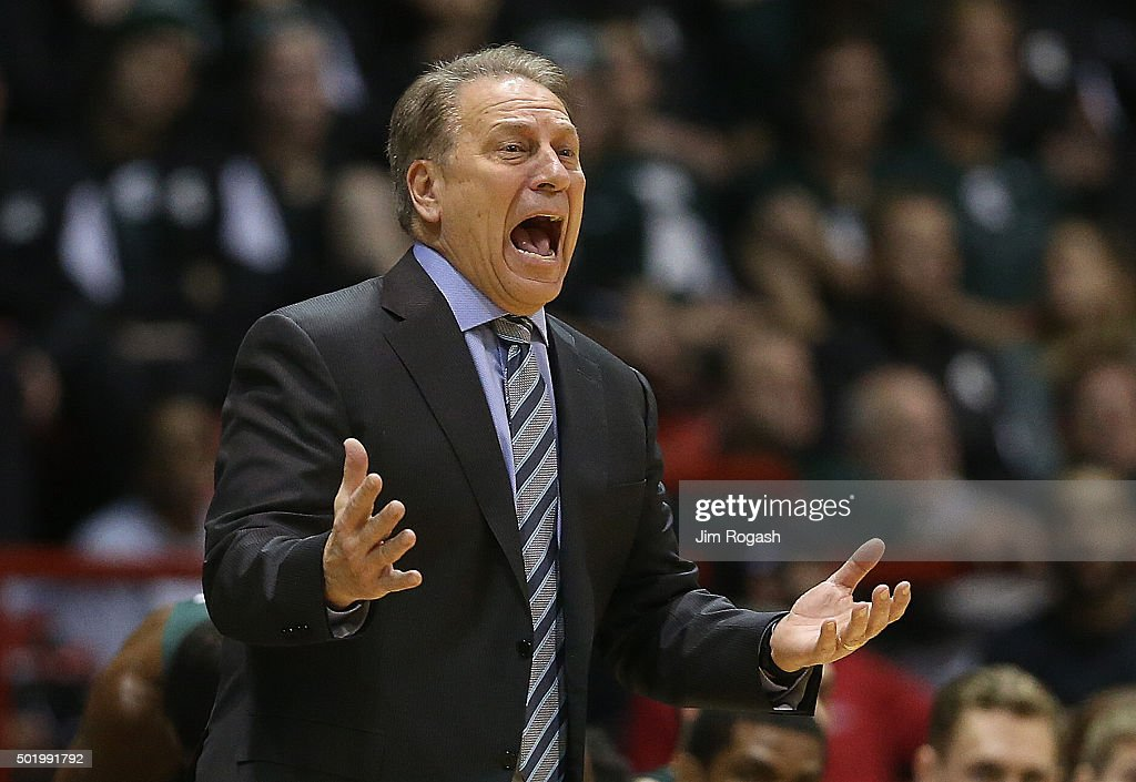 <a gi-track='captionPersonalityLinkClicked' href=/galleries/search?phrase=Tom+Izzo&family=editorial&specificpeople=238861 ng-click='$event.stopPropagation()'>Tom Izzo</a> of the Michigan State Spartans reacts during a game with the Northeastern Huskies in the first half on December 19, 2015 at the Matthews Arena in Boston, Massachusetts.