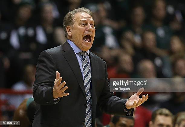 Tom Izzo of the Michigan State Spartans reacts during a game with the Northeastern Huskies in the first half on December 19 2015 at the Matthews...