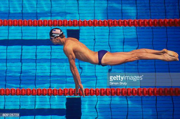 Tom Jager of the United States during the Men's 50 metres Freestyle on 30 July 1992 during the XXV Summer Olympic games at the Piscines Bernat...
