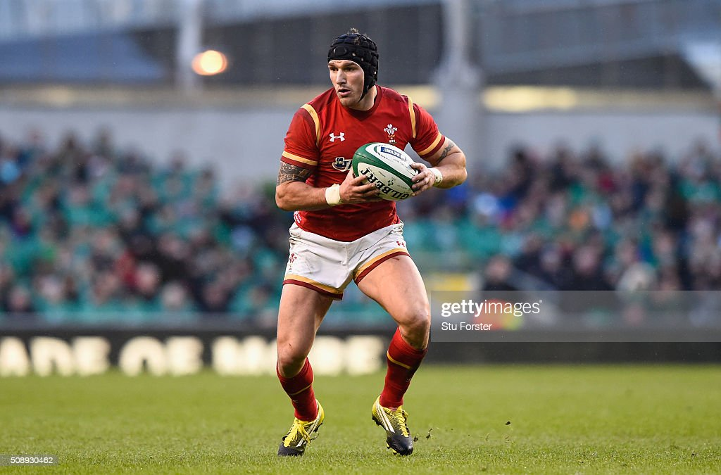 Tom James of Wales in action during the RBS Six Nations match between Ireland and Wales at the Aviva Stadium at Aviva Stadium on February 7, 2016 in Dublin, Ireland.